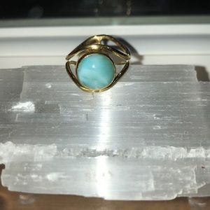 "Larimar Crystal Ring ""Wisdom Of The Sea""."